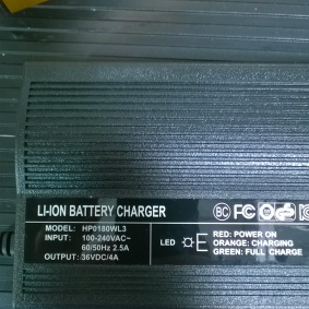 Specifications for the charger.