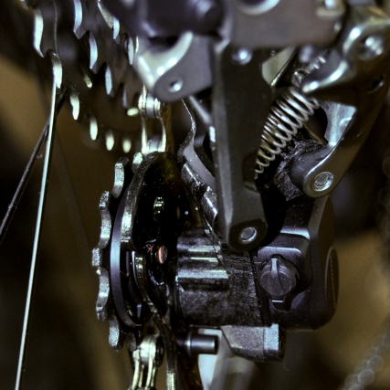 Closeup of rear derailleur